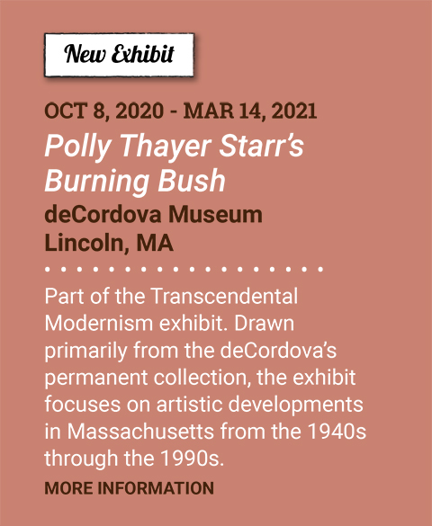 New Exhibit. Ocotober 8, 2020 - March 14, 2021. Polly Thayer Starr's Burning Bush. deCordova Museum. Lincoln, Ma. Part of the Transcendental Modernism exhibit. Drawn primarily from the deCordova's permanent collection, the exhibit focuses on artistic developments in Massachusetts from the 1940s through the 1990s. More Information
