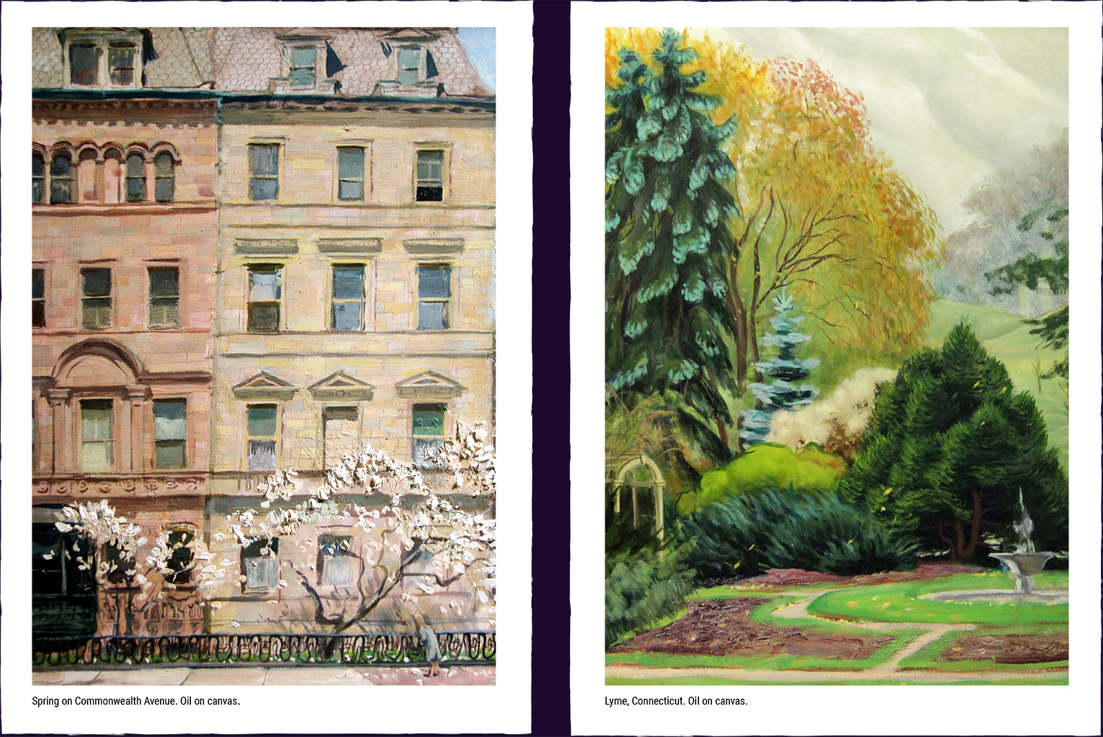 Two landscape paintings. (1) Spring on Commonwealth Avenue. Oil on canvas. (2) Lyme, Connecticut. Oil on canvas.