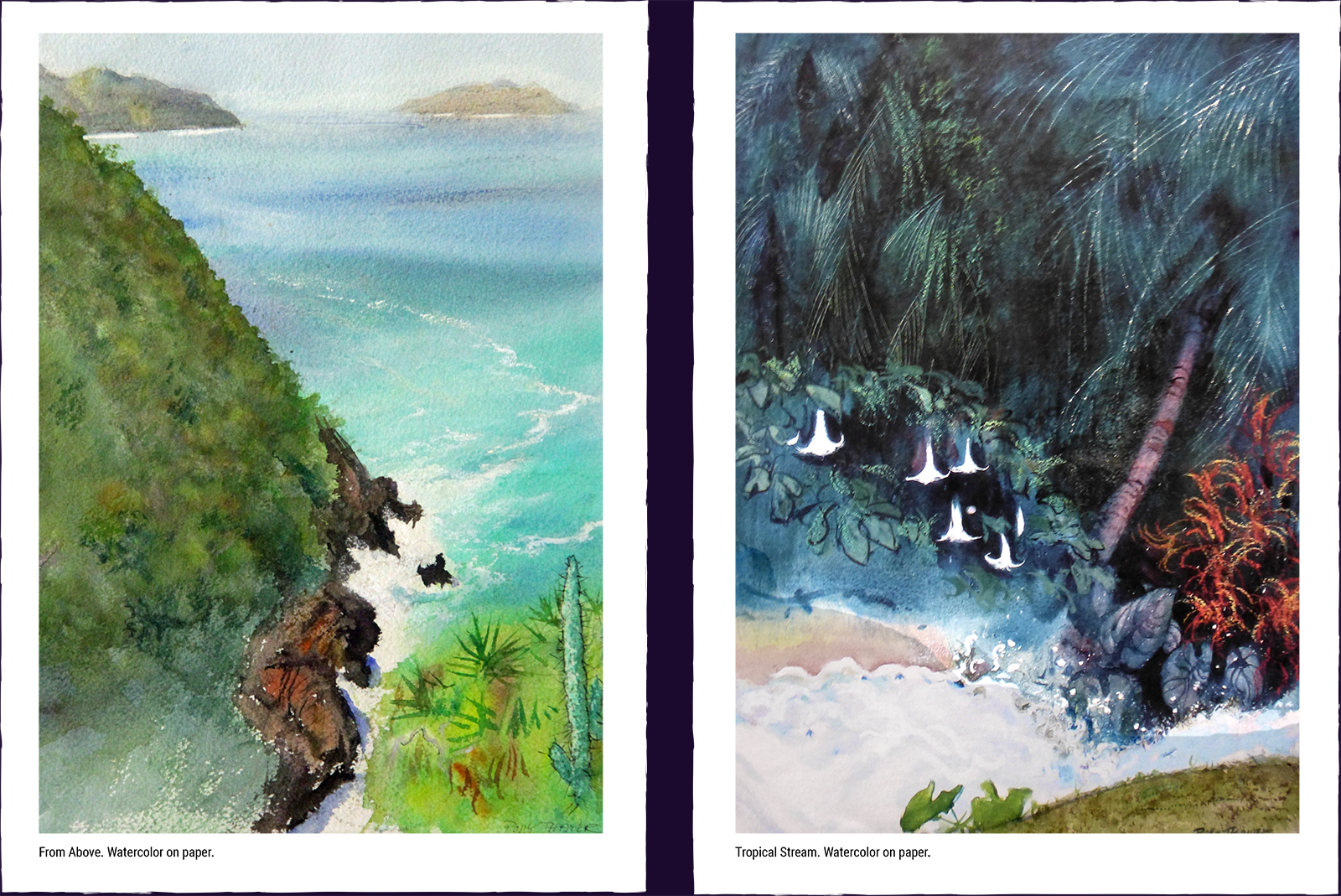 Two landscape paintings. (1) From Above. Watercolor on paper. (2) Tropical Stream. Watercolor on paper.