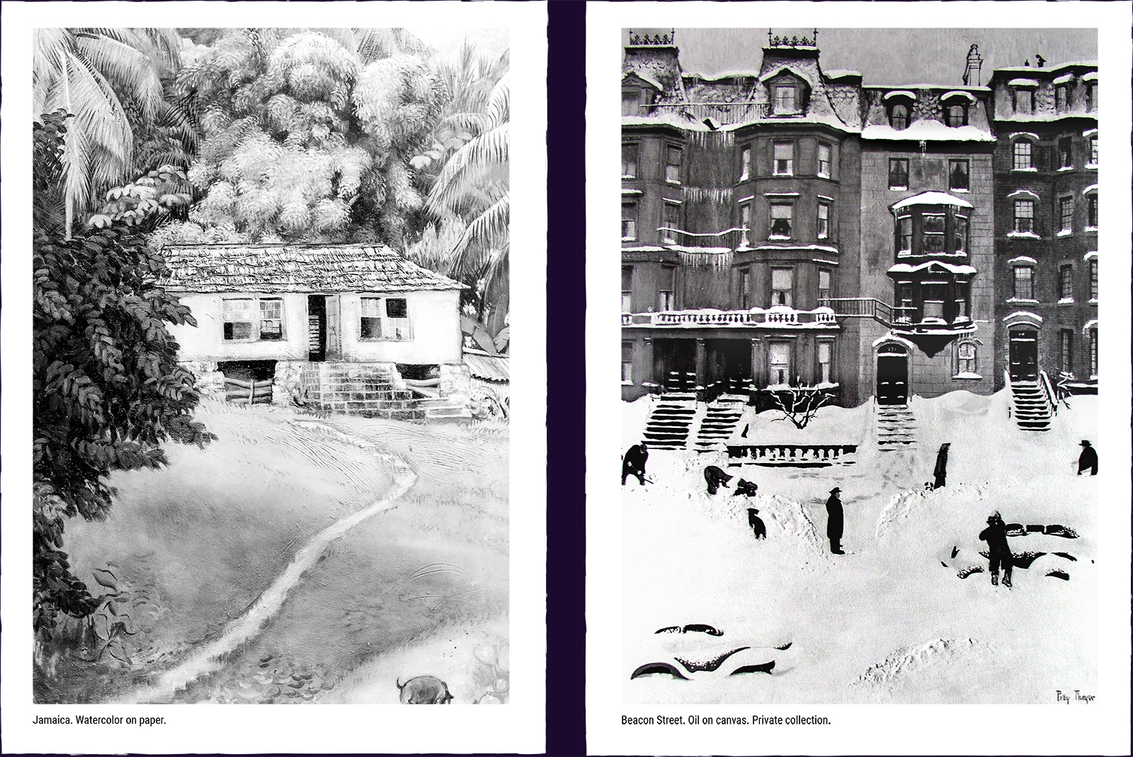 Two landscape paintings. (1) Jamaica. Watercolor on paper. (2) Beacon Street. Oil on canvas. Private collection.