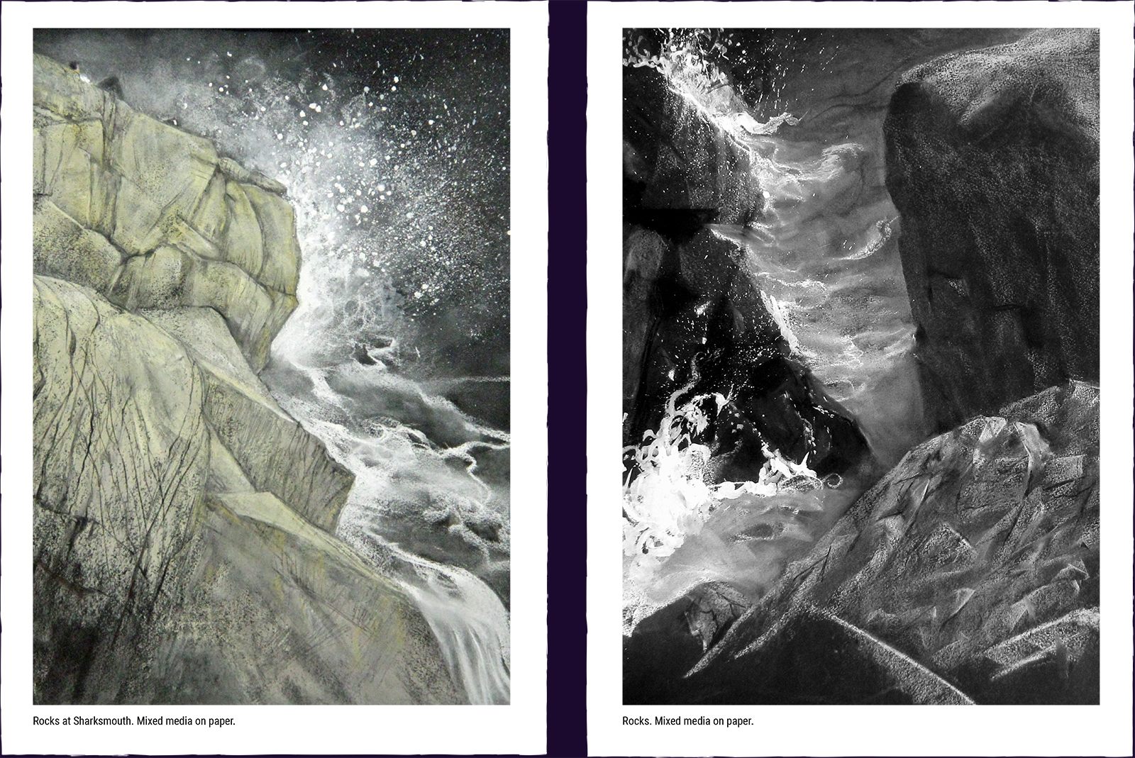 Two landscape paintings. (1) Rocks at Sharksmouth. Mixed media on paper. (2) Rocks. Mixed media on paper.