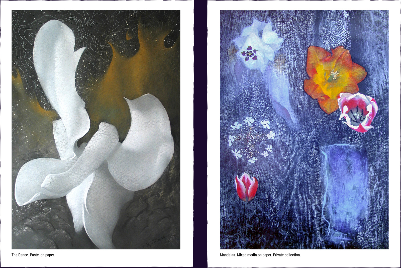 Two mystery paintings. (1) The Dance. Pastel on paper. (2) Mandalas. Mixed media on paper. Private collection.