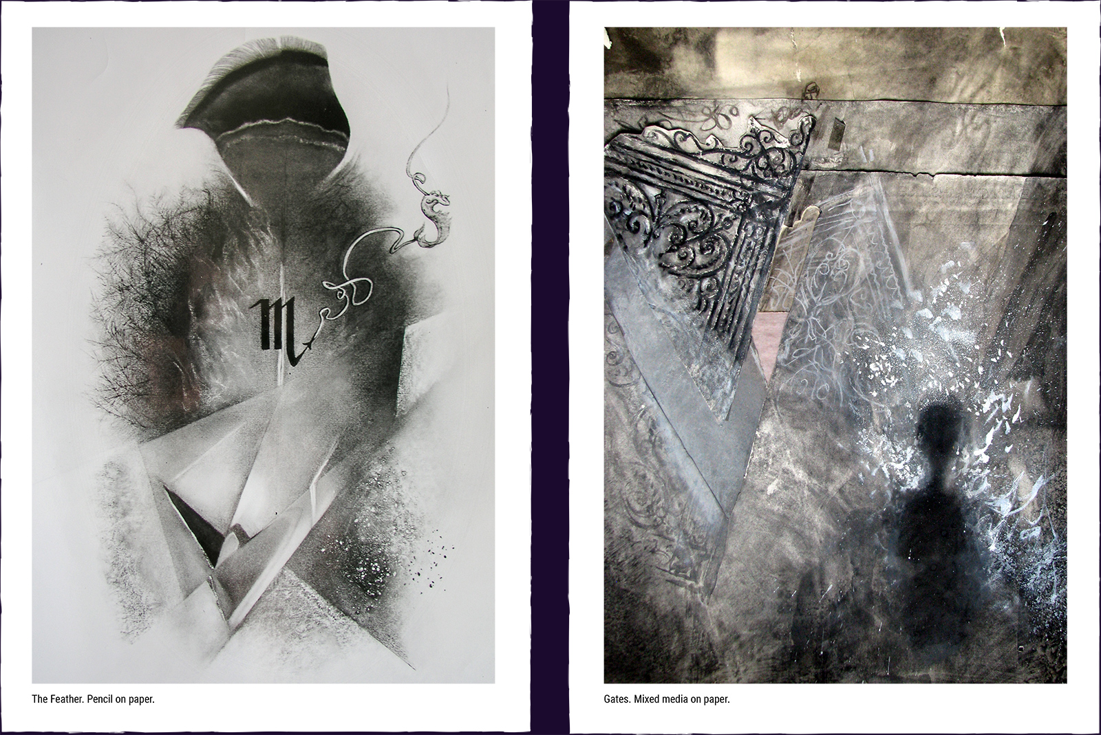 Two mystery paintings. (1) The Feather. Pencil on paper. (2) Gates. Mixed media on paper.