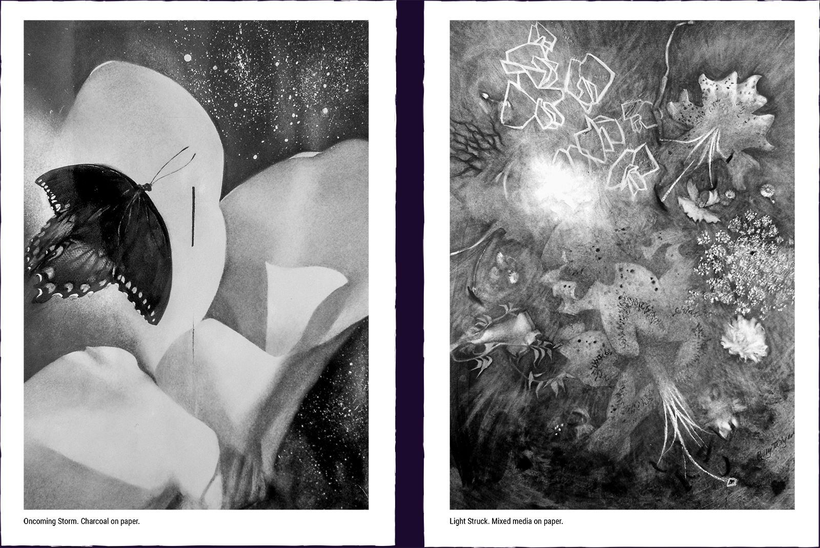 Two mystery paintings. (1) Oncoming Storm. Charcoal on paper. (2) Light Struck. Mixed media on paper.